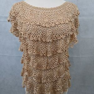 Gold & Gold Metallic Crochet Sleeveless Shirt